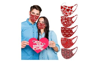 10PCS Adult Valentine's Day Hearts Ice Silk Mask With Reusable Protect Face Mask