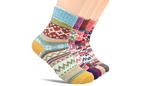 5Pairs Knitting Cashmere Warm Cotton Soft Thicken Winter Wool Socks For Women