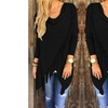 Long Sleeve Fringe Front Top  Sizing up to 3XL