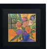 Sheila Golden 'The Purple Table' Matted Black Framed Art