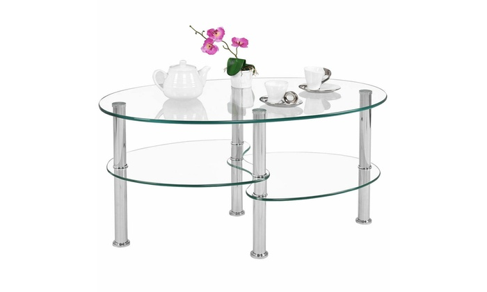 Oval Coffee Table With Shelf.Tempered Glass Oval Side Coffee Table Shelf Chrome Living