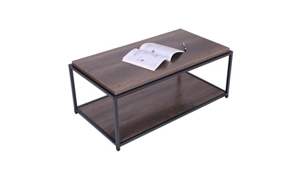 Sturdy Industrial Design Metal Legs Wooden Coffee Tables For Living Room 2 Layer