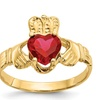 14k Yellow Gold 6mm Synthetic CZ July Birth month Claddagh Ring