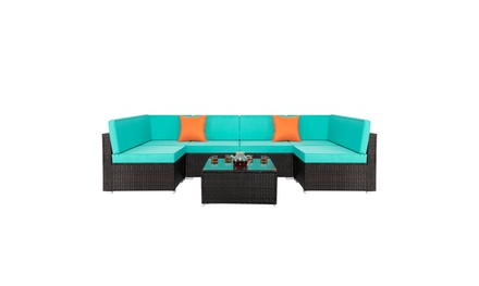 7 Piece Patio Rattan Sofa Sectional Outdoor Furniture Wicker