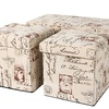 3pc Folding Storage Bench and Folding Storage Ottoman Set