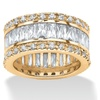9.34 TCW Cubic Zirconia 18k Gold over Silver Band
