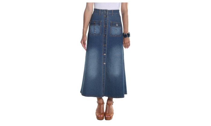 Hadari Women's Ankle Length Button Down Maxi Skirt with frontal pocket
