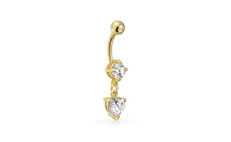 Bling Jewelry Gold Plated Stainless Steel CZ Heart Navel Belly Ring 587fc4f7-896a-4aed-94ad-5742d8973d1c