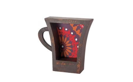 Wooden Coffee Cup Storage Shelf Dark Brown with Red Orange Kitchen Bar a25dbf7d-9522-49ff-bf84-8944c81b6f1d