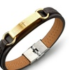 Stainless Steel Cross Bible Brown Leather Men Bracelet