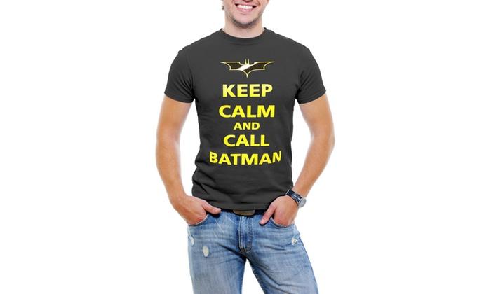 Keep Calm and Call Batman Men T-Shirt Soft Cotton Short Sleeve Tee