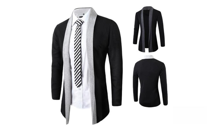Mens Shawl Collar Color Contrast Knit Cardigan Lightweight Jacket