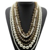 Crystal Long Chain Simulated Pearl Chain Necklaces
