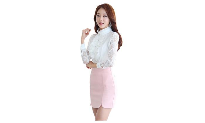 Women's Sheer Lace Long Sleeve Lotus Leaf Ruffle Button Down Shirt