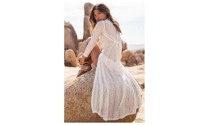 Women's Summer Breeze Lace Crochet Maxi Beachwear – White / one size