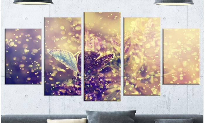 Blue Butterfly And Purple Flowers - Large Floral 5 Panel Metal Wall ...