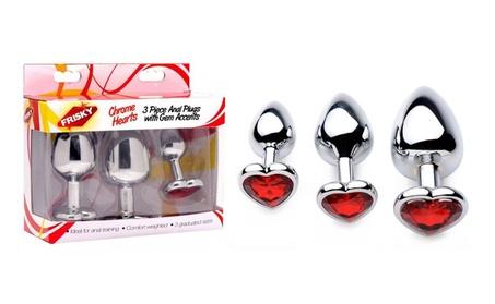 Frisky Chrome Hearts 3 Piece Anal Plugs With Gem Accents 6a408349-f6d5-4452-93c1-d496319e6c3c