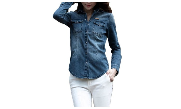 Women's Long Sleeve Solid Casual Buttons Up Denim Jacket