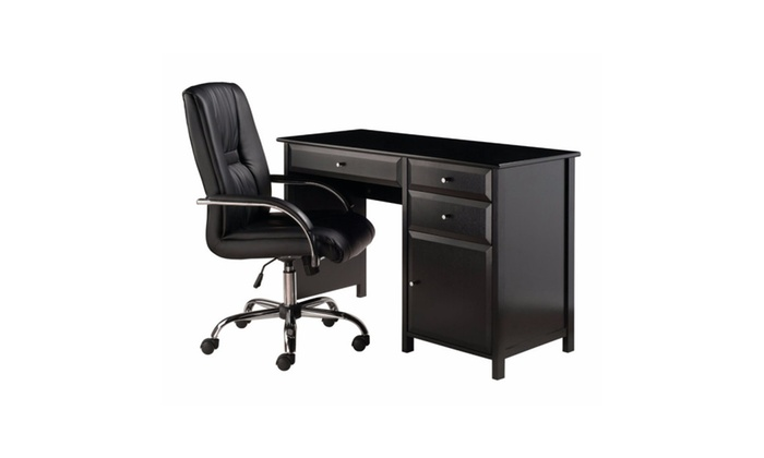Winsome Home Office Delta Desk With High Back Chair   2 PC Set ...