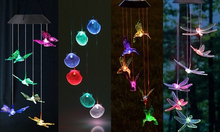 4 Type LED Solar Hummingbird Wind Chime for Home Night Garden Decoration