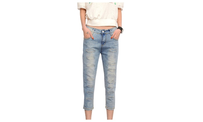 Women's Cotton Midrise Length Ripped Pencil Skinny 3/4 Jeans
