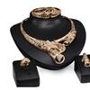 Lovely Flower Big Choker Necklace Earrings Rings Bracelet Jewelry Set