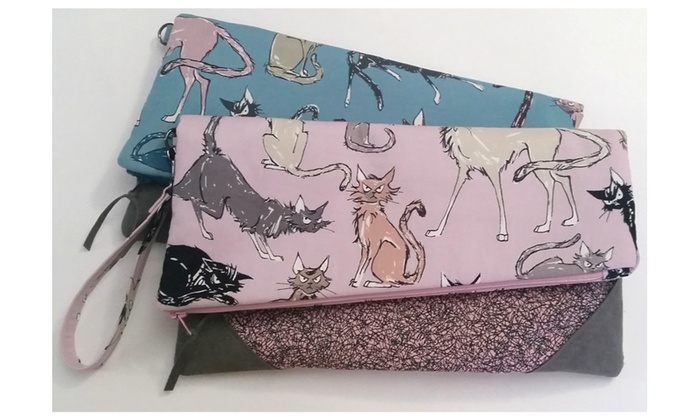 Sassy Whiskers Wristlet or Hand Clutch