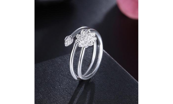 Sterling Silver Floral Pendant Adjustable Sleek Ring Groupon
