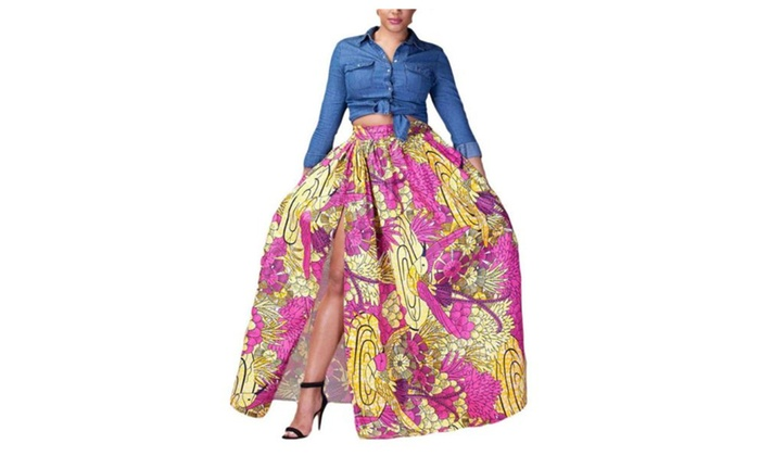 Women's Casual Printed Pullover Loose Fit Pleated Skirts