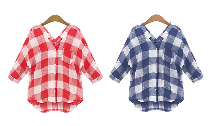 V-neck Elbow sleeves Plaid Shirt