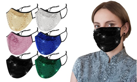 Sequined Cotton Fashion Face Masks With Adjustable Ear Loops (6-Pack)
