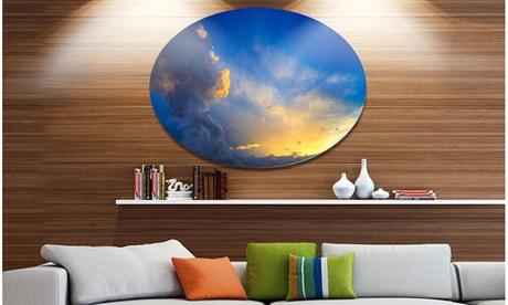 Dramatic Sunset Sky with Thunderstorm' Beach Photo Metal Circle Wall Art 74adfac2-2c4e-41e5-8312-c94c46592daa