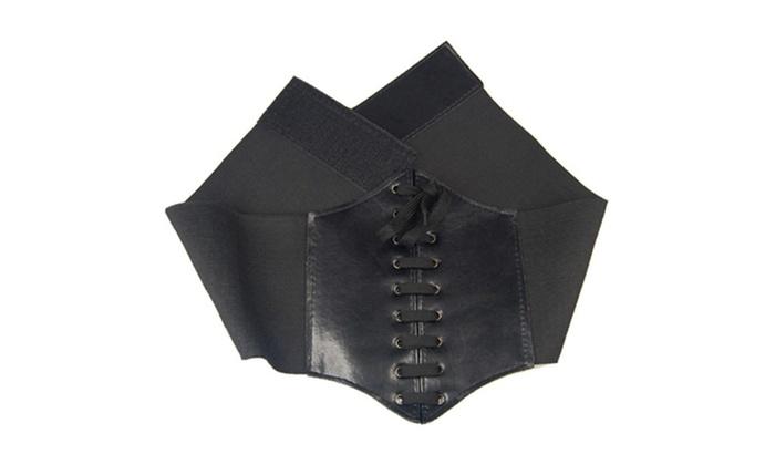 5be26c5c15 Leather Waist Belt Cincher Corset Black Wide Band Elastic Tied ...