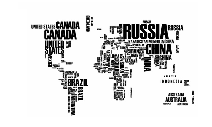 Large Letters World Map Office Room Wall Stiker ...