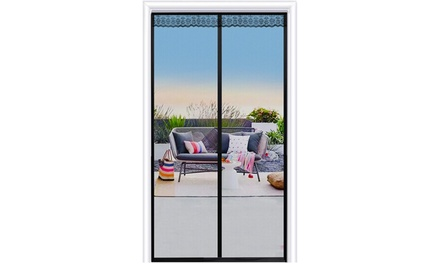 "Magnetic Screen Door with Durable Fiberglass Mesh Curtain (Fits 32""x80"")"