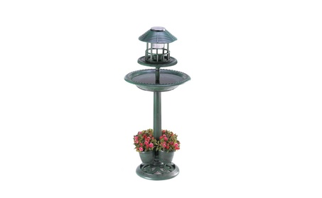 Verdigris Solar Bird Bath Garden Centerpiece (Goods Outdoor Décor Bird Feeders & Baths) photo