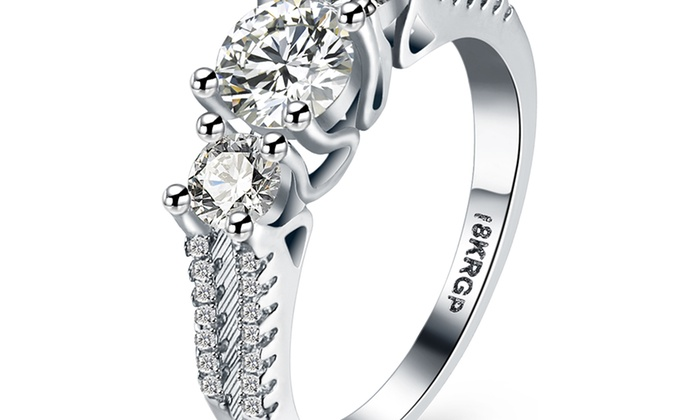 cf607f715 18K White Gold Plated Three Stone Classic Cocktail Ring   Groupon