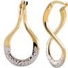 14K Two Tone Diamond Cut Twisted Hoop Earring