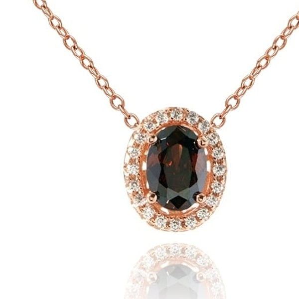 6777ec83fa58a Suzy Levian Sterling Silver Brown Oval Cubic Zirconia Solitaire Pendant  Necklace