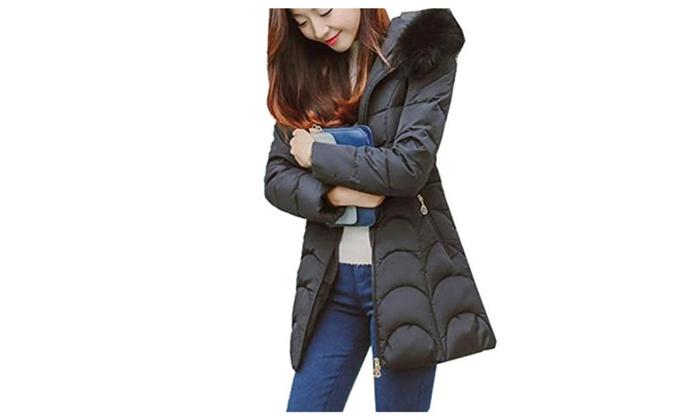 Women's Winter Warm Slim Hooded Mid-long Parka Jacket