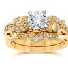 3/4ct Emery Vintate Diamond Engagement Ring Set 14k Yellow Gold