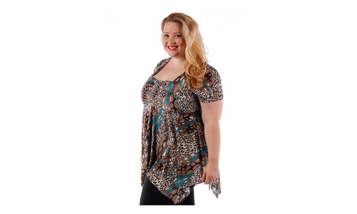 Teal and Brown Abstract Animal Print Plus Size Blouse PT-1852-X - 1X
