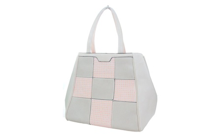 Checkered Dots Vegan Leather Large Women's Handbag Purse Pink (Goods Women's Fashion Accessories Handbags Satchels) photo