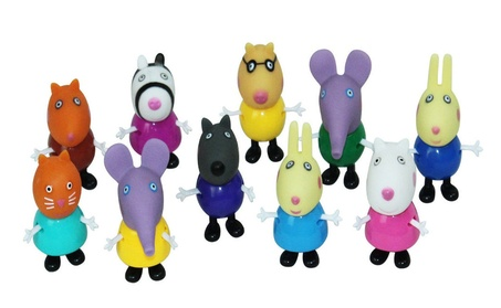 10 PCS Pig Family Friends Emily George Rebecca Cartoon Action Figures aa3639ed-585a-4909-ab1a-bc209bb25dd3