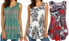 Women's Paisley Printed Pleated Sleeveless Blouse Shirt Casual Flare Tank Top