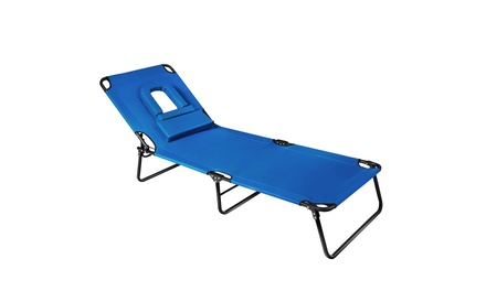 Costway Folding Chaise Lounge Chair Adjustable Patio Beach Camping Recliner