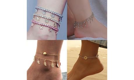 US Women Daisy Butterfly Infinite Rhinestone Crystal Anklet Ankle Bracelet Chain