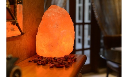 Natural Himalayan Rock Salt Lamp 6-7 lbs with Wood Base