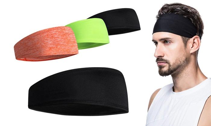 KIACIYA Sports Headbands Men and Women Stretchy Headband Moisture Wicking Workout Sweatbands Headwear Snood Fitness Travel Running Gym Tennis Basketball Yoga Bike Helmet Friendly