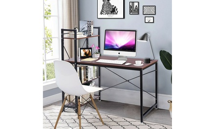 Computer Desk With 4-Tier Shelves PC Workstation Study Table Home